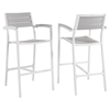 Maine Outdoor Patio Bar Stool - Light Gray, White (Set of 2) - EEI-1740-WHI-LGR-SET