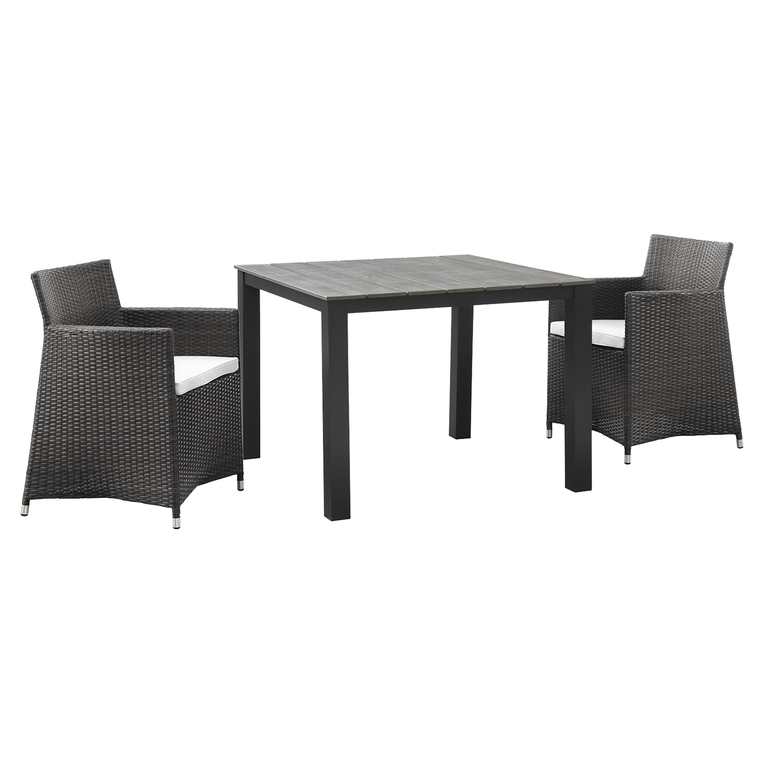 Junction 3 Pieces Outdoor Patio Set - Wicker, Brown Frame, White Cushion - EEI-1742-BRN-WHI-SET