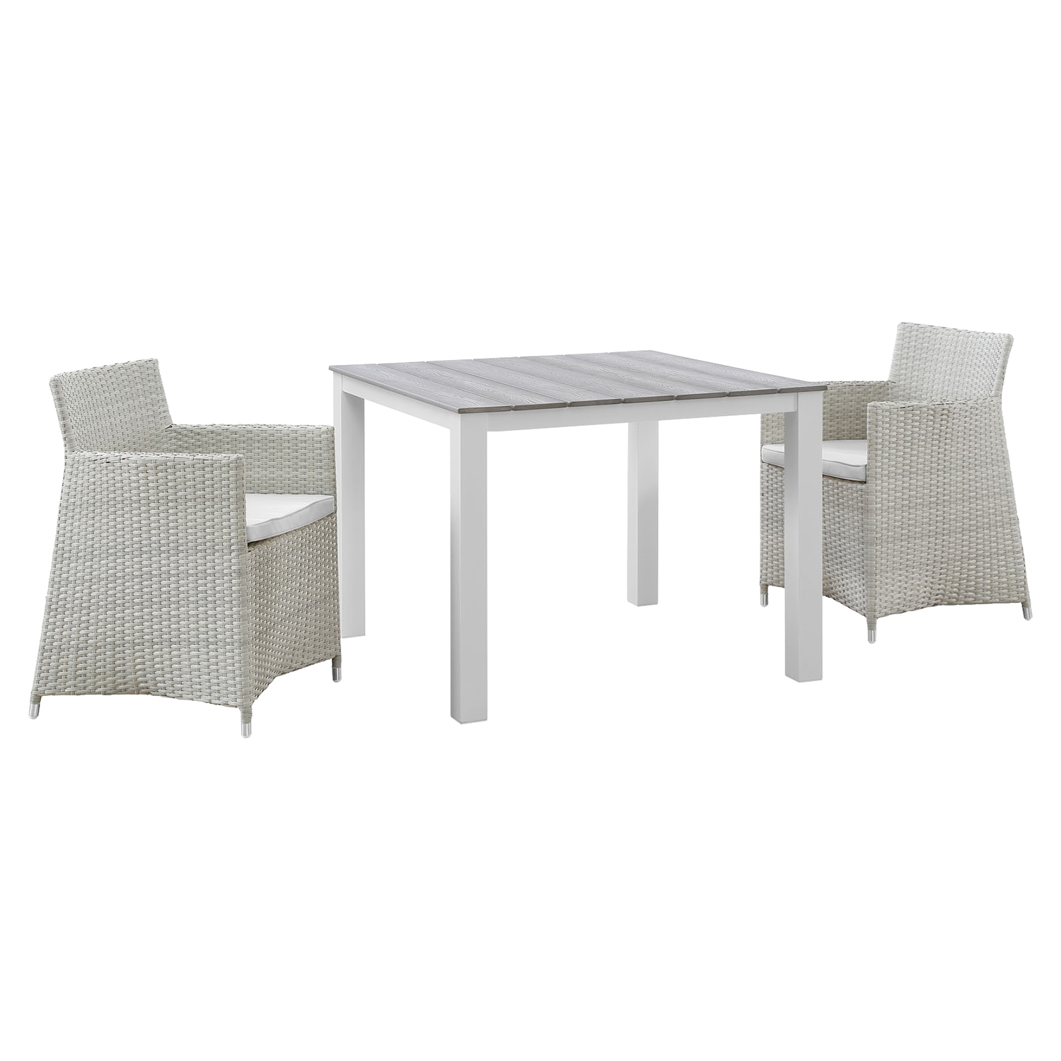 Junction 3 Pieces Outdoor Patio Set - Wicker, Gray Frame, White Cushion - EEI-1742-GRY-WHI-SET