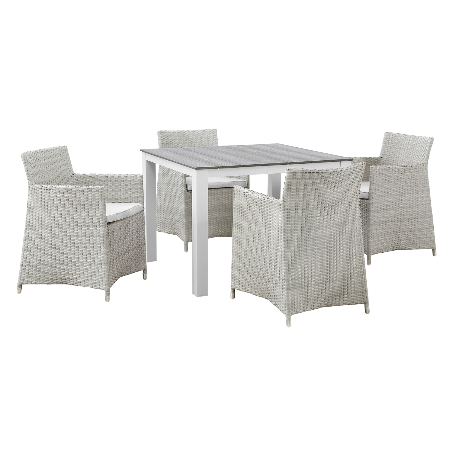 "Junction 5 Pieces 40"" Outdoor Patio Set - Gray Frame, White Cushion - EEI-1744-GRY-WHI-SET"