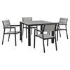 "Maine 5 Pieces 40"" Outdoor Patio Set - Brown, Gray - EEI-1745-BRN-GRY-SET"
