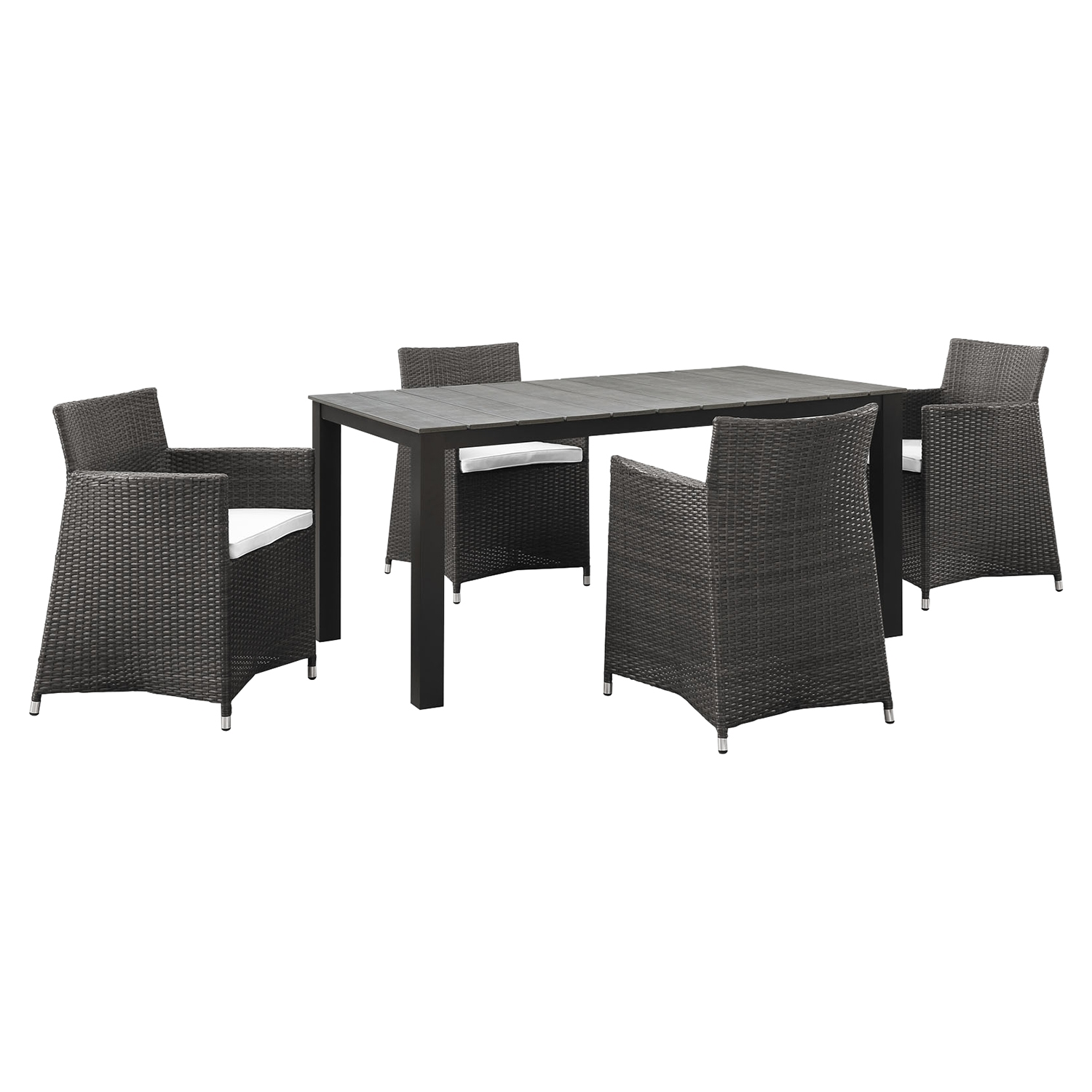 "Junction 5 Pieces 63"" Outdoor Patio Set - Brown Frame, White Cushion - EEI-1746-BRN-WHI-SET"