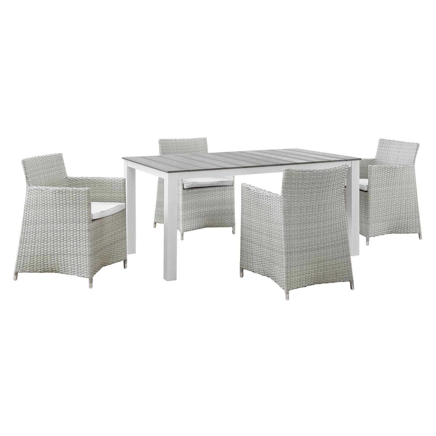 "Junction 5 Pieces 63"" Outdoor Patio Set - Gray Frame, White Cushion - EEI-1746-GRY-WHI-SET"