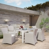 "Junction 7 Pieces 63"" Outdoor Patio Set - Gray Frame, White Cushion - EEI-1748-GRY-WHI-SET"