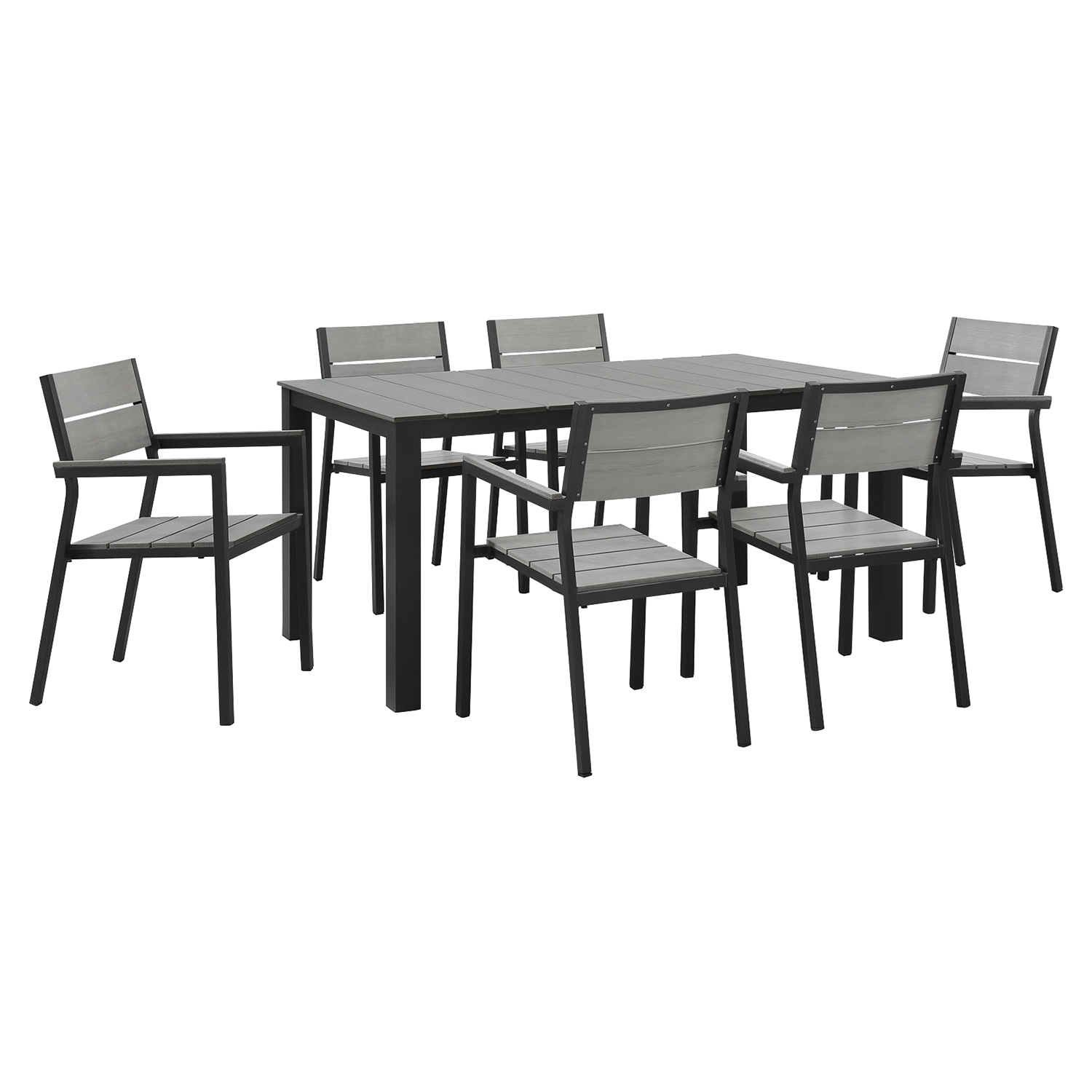 "Maine 7 Pieces 63"" Outdoor Patio Set - Brown, Gray - EEI-1749-BRN-GRY-SET"