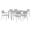 "Maine 7 Pieces 63"" Outdoor Patio Set - White, Light Gray - EEI-1749-WHI-LGR-SET"