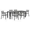 "Maine 7 Pieces 80"" Outdoor Patio Set - Gray, Brown - EEI-1751-BRN-GRY-SET"