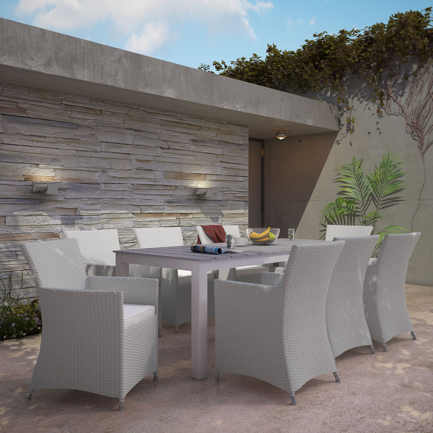 Junction 9 Pieces Outdoor Patio Set - Gray Frame, White Cushion - EEI-1752-GRY-WHI-SET