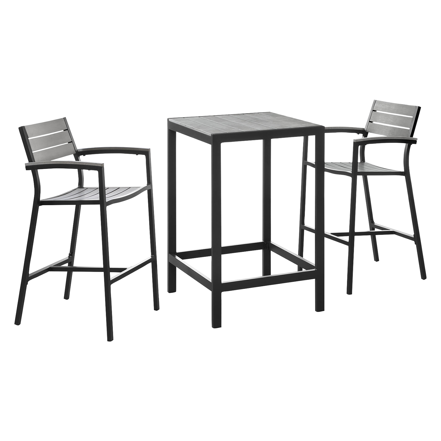 Maine 3 Pieces Outdoor Patio Set - Brown, Gray - EEI-1754-BRN-GRY-SET