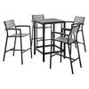 Maine 5 Pieces Outdoor Patio Set - Brown, Gray - EEI-1755-BRN-GRY-SET