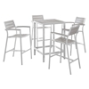 Maine 5 Pieces Patio Set - White, Light Gray - EEI-1755-WHI-LGR-SET