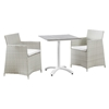 Junction 3 Pieces Outdoor Patio Set - Gray Frame, White Cushion - EEI-1758-GRY-WHI-SET