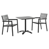 Maine 3 Pieces Outdoor Patio Set - Gray, Brown - EEI-1759-BRN-GRY-SET