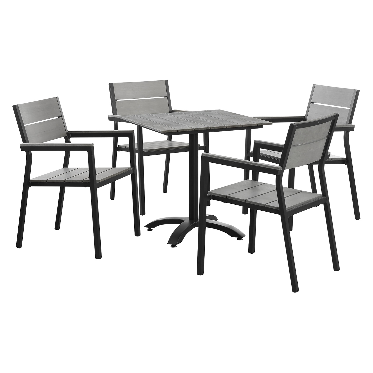 Maine 5 Pieces Outdoor Patio Set - Gray, Brown - EEI-1761-BRN-GRY-SET