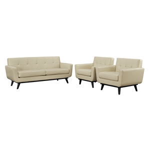 Engage 3 Pieces Leather Sofa Set - Tufted, Beige