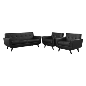 Engage 3 Pieces Leather Sofa Set - Tufted, Black