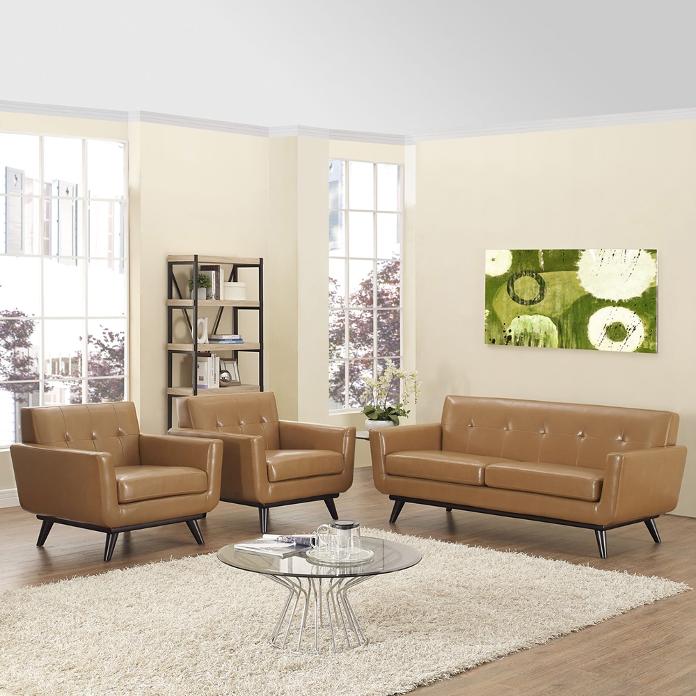 Engage 3 pieces leather sofa set tufted tan dcg stores for Tufted couch set