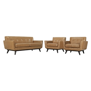 Engage 3 Pieces Leather Sofa Set - Tufted, Tan