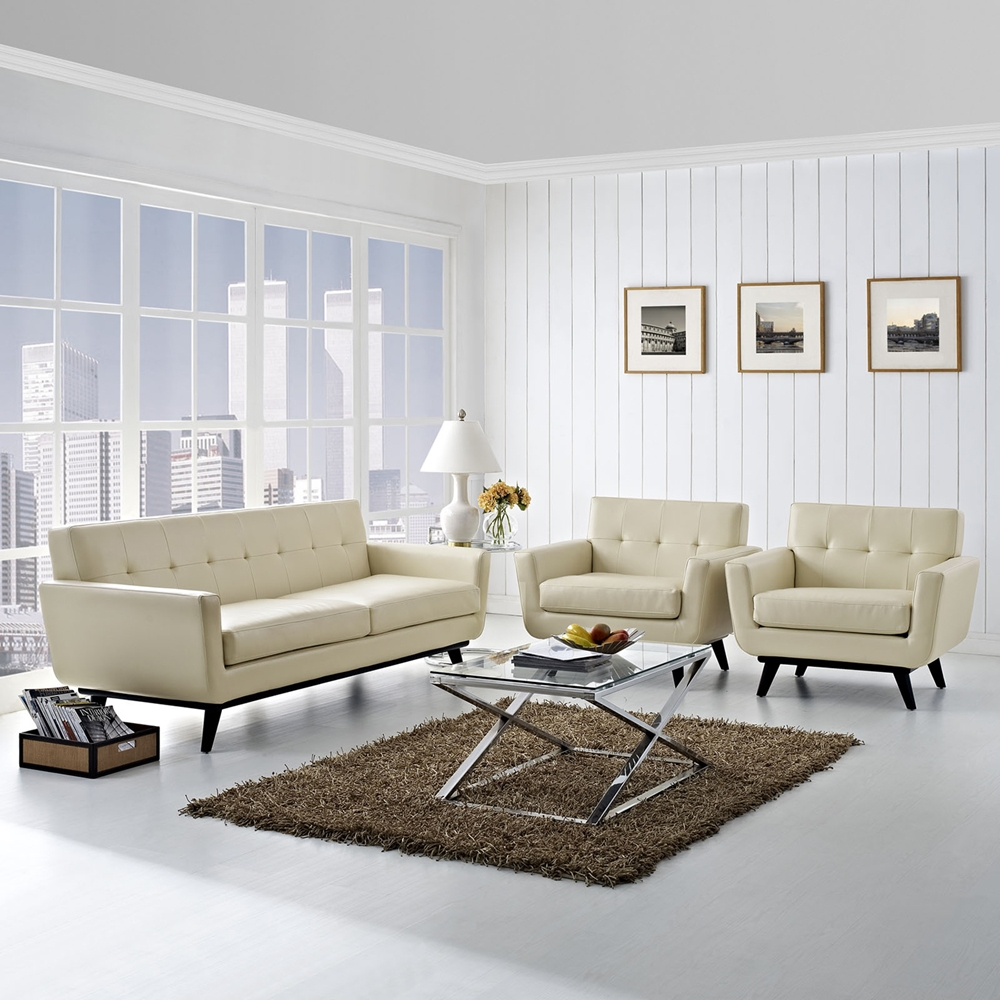 Engage 3 pieces tufted leather sofa set beige dcg stores for Tufted couch set