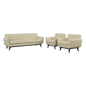 Engage 3 Pieces Tufted Leather Sofa Set - Beige