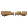 Engage 3 Pieces Tufted Leather Sofa Set - Tan - EEI-1763-TAN-SET