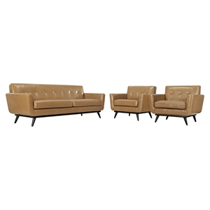 Engage 3 Pieces Tufted Leather Sofa Set - Tan