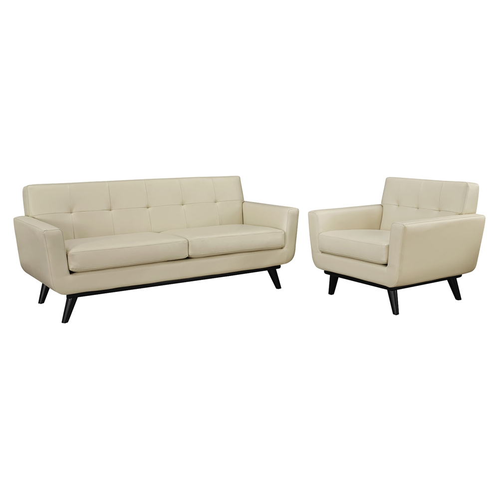 Engage 2 Pieces Leather Sofa Set Tufted Beige Dcg Stores