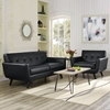 Engage 2 Pieces Leather Sofa Set - Tufted, Black - EEI-1765-BLK-SET