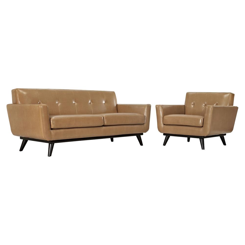 Engage 2 pieces tufted leather sofa set tan dcg stores for Tan sofa set