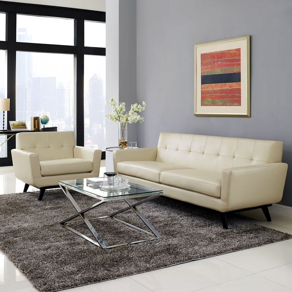 Engage 2 pieces tufted sofa set leather beige dcg stores for Tufted couch set