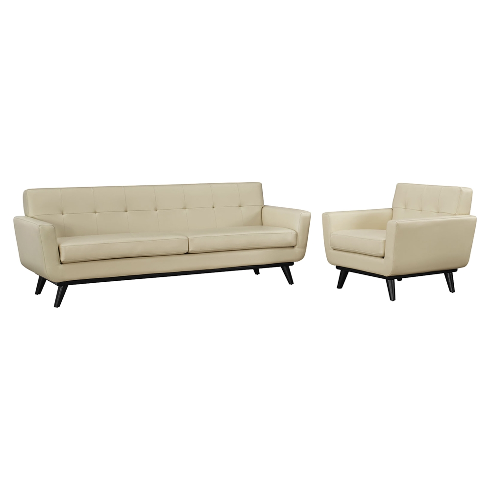 Engage 2 Pieces Tufted Sofa Set Leather Beige Dcg Stores