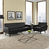 Engage 2 Pieces Tufted Leather Sofa Set - Black - EEI-1766-BLK-SET