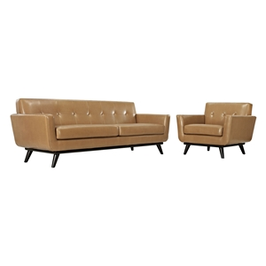 Engage 2 Pieces Leather Sofa Set - Tufted, Tan