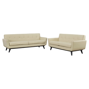 Engage 2 Pieces Leather Sofa Set - Flared Legs, Beige