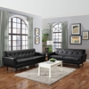 Engage 2 Pieces Leather Sofa Set - Flared Legs, Black - EEI-1767-BLK-SET