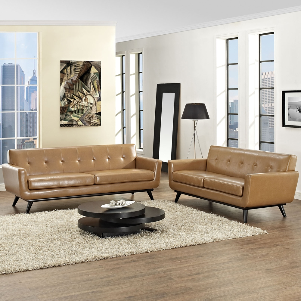 Engage 2 pieces leather sofa set flared legs tan dcg for Tan sofa set