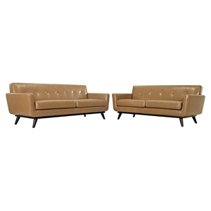 Engage 2 Pieces Leather Sofa Set - Flared Legs, Tan