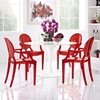 Casper Polycarbonate Dining Armchair - Red (Set of 4) - EEI-1769-RED