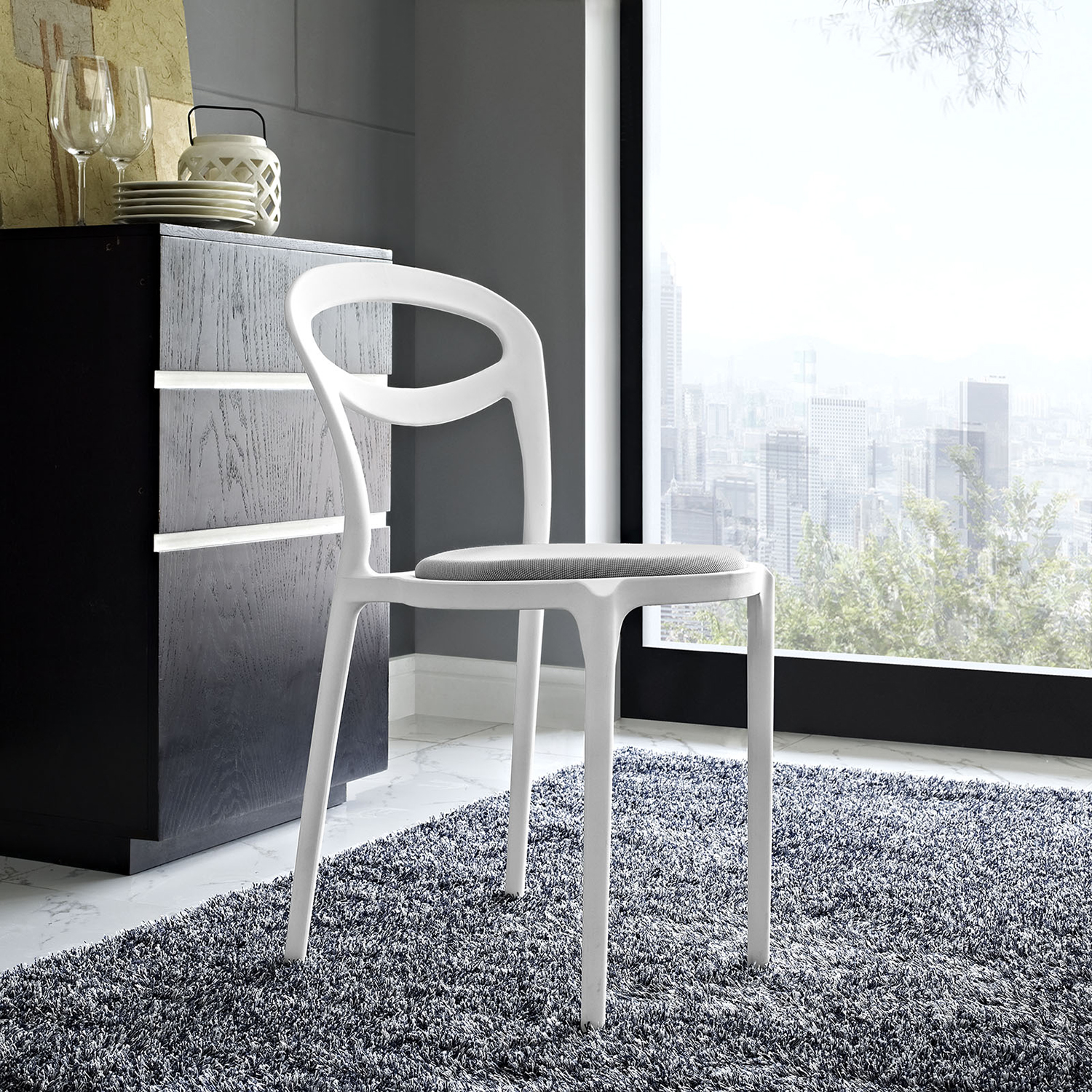Assist Dining Side Chair - White Gray - EEI-1772-WHI-GRY