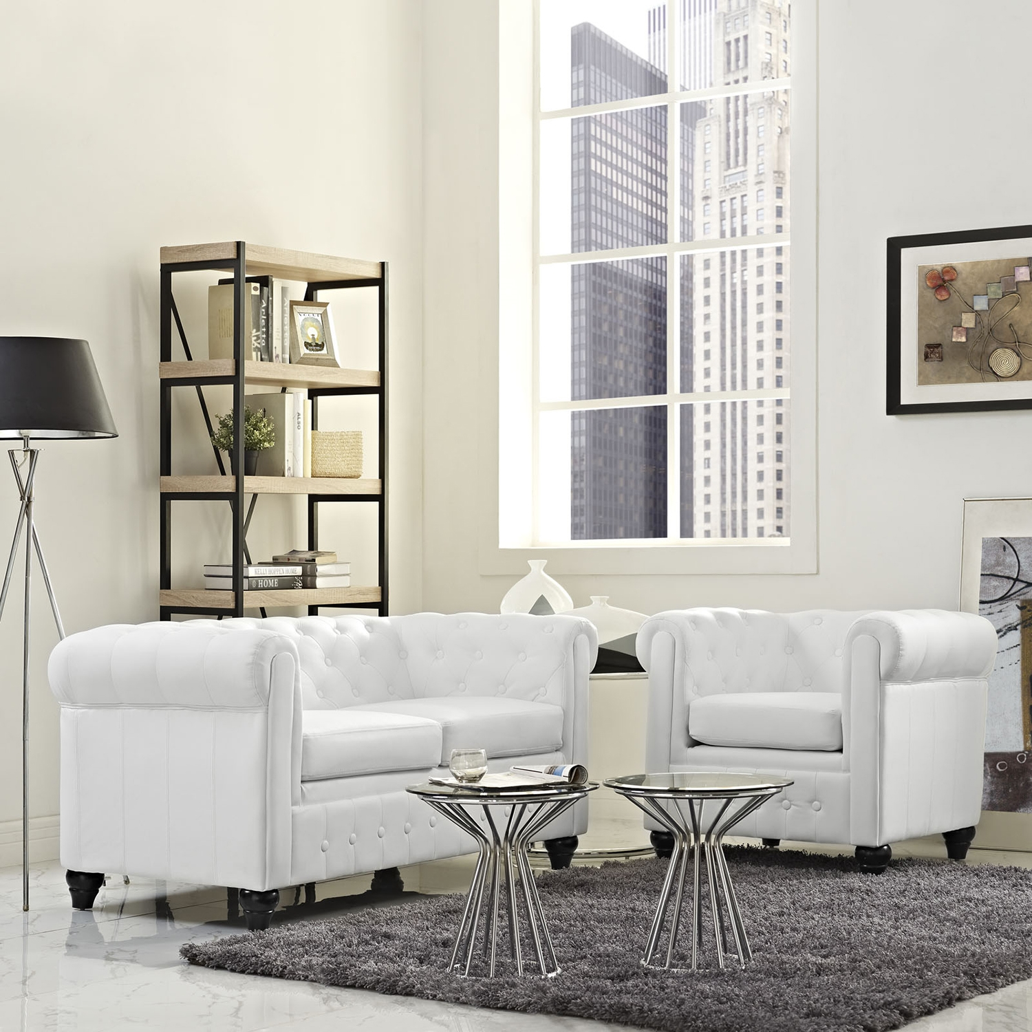 Earl 2 Pieces Faux Leather Sofa Set - White, Tufted - EEI-1773-WHI-SET