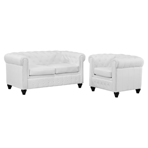 Earl 2 Pieces Faux Leather Sofa Set - White, Tufted