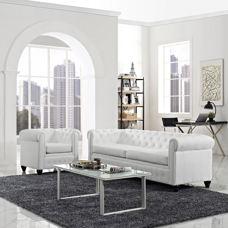 ... Earl 2 Pieces Faux Leather Sofa Set   Tufted, White   EEI 1774