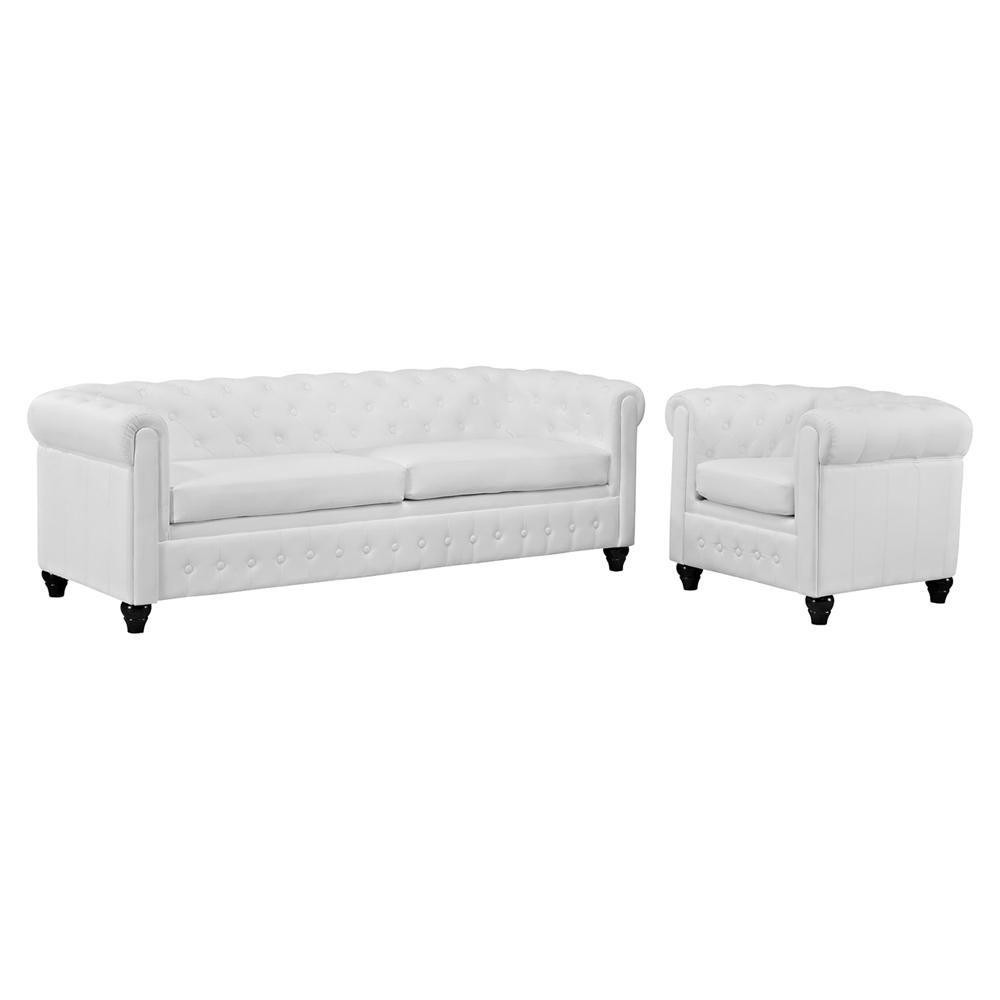 Earl 2 Pieces Faux Leather Sofa Set Tufted White Eei 1774