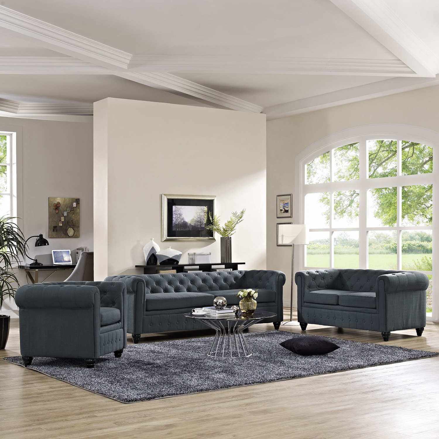 Earl 3 Pieces Fabric Sofa Set - Button Tufted, Gray - EEI-1776-GRY-SET
