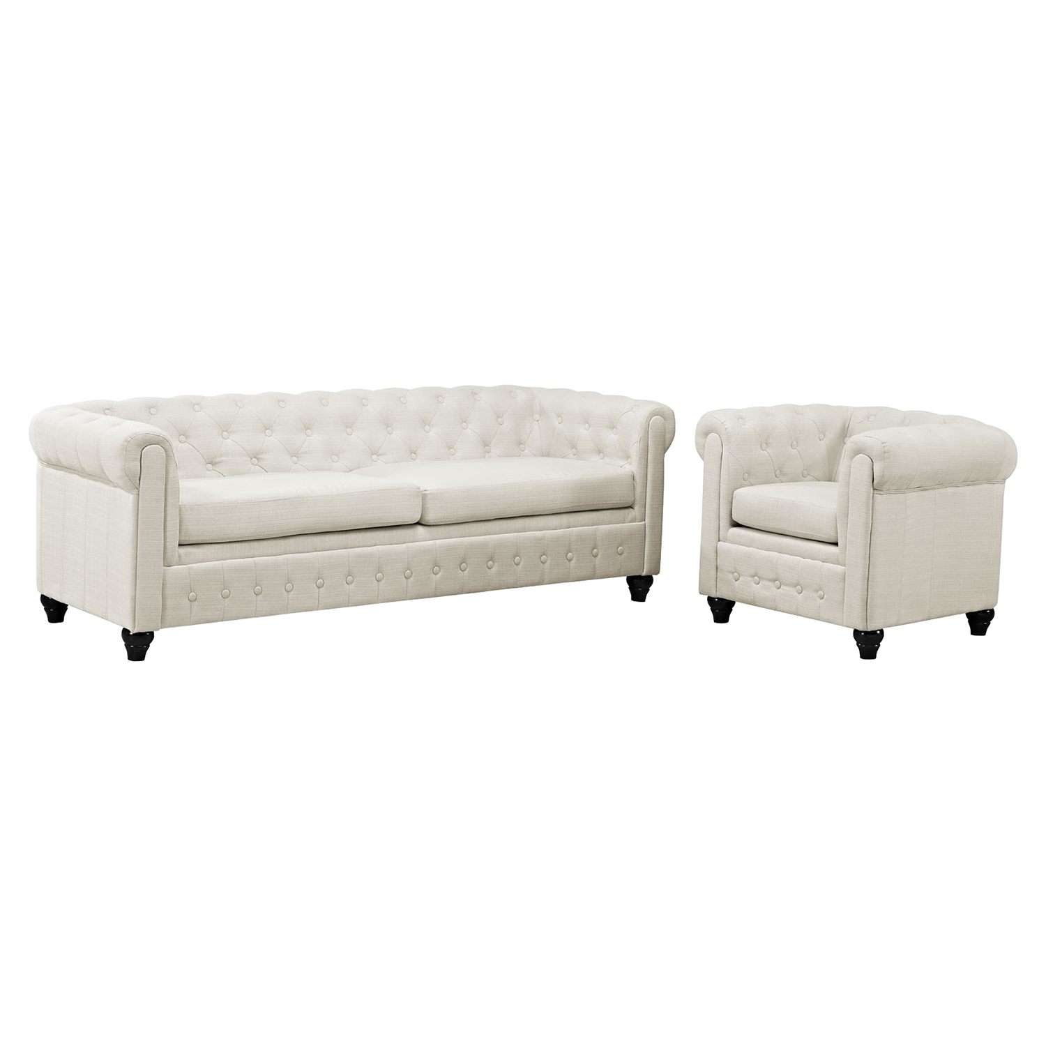 Earl 2 Pieces Sofa Set - Fabric, Beige, Button Tufted - EEI-1778-BEI-SET