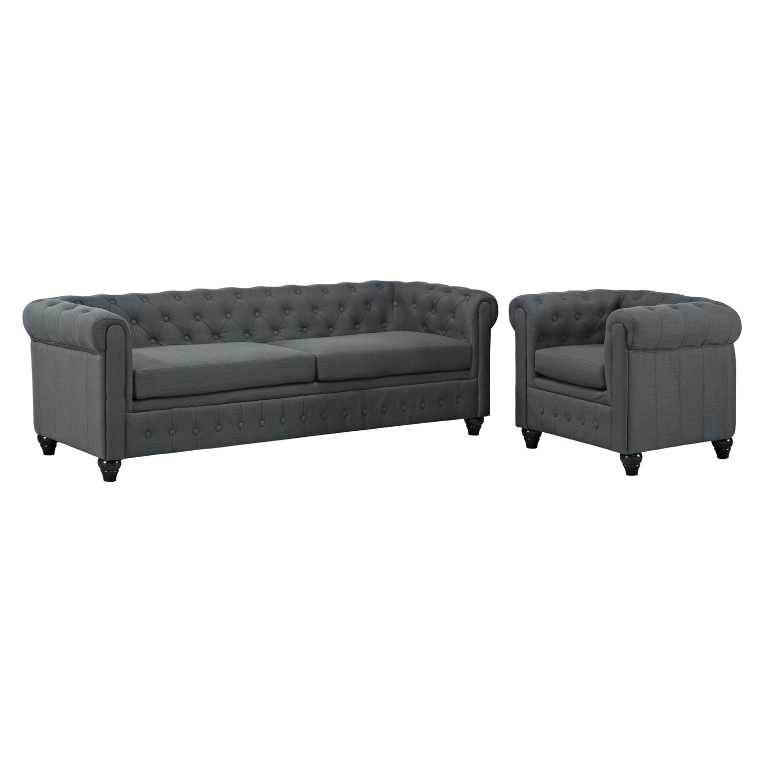 Earl 2 Pieces Sofa Set - Fabric, Gray, Button Tufted - EEI-1778-GRY-SET