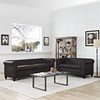 Earl 2 Pieces Leatherette Sofa Set - Button Tufted, Brown - EEI-1779-BRN-SET