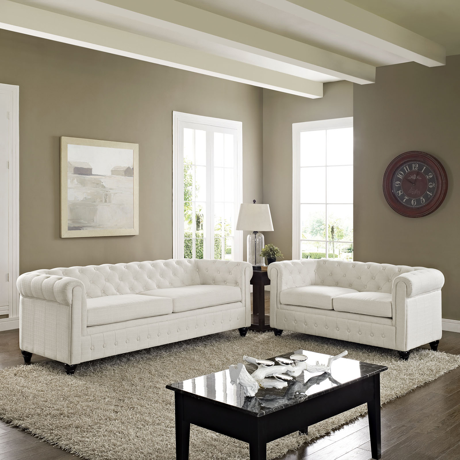 Earl 2 Pieces Fabric Sofa Set - Button Tufted, Turned Legs, Beige - EEI-1780-BEI-SET