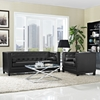 Imperial 2 Pieces Bonded Leather Sofa Set - Button Tufted, Black - EEI-1781-BLK-SET