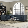 Imperial 2 Pieces Bonded Leather Sofa Set - Button Tufted, Blue - EEI-1781-BLU-SET